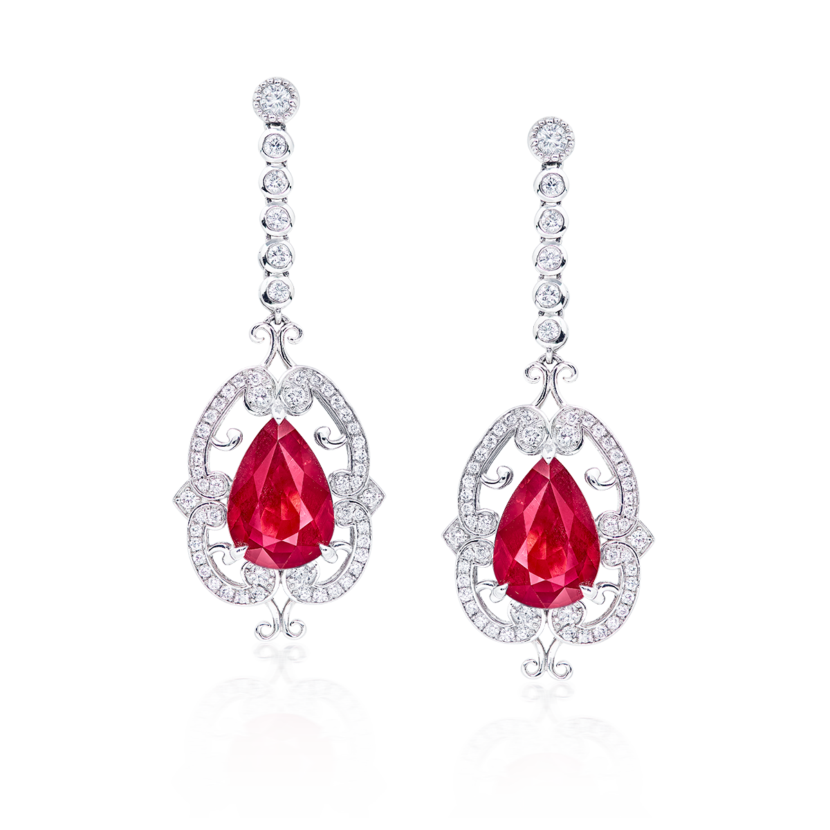 莫三比克天然無燒艷彩紅寶鑽石耳環