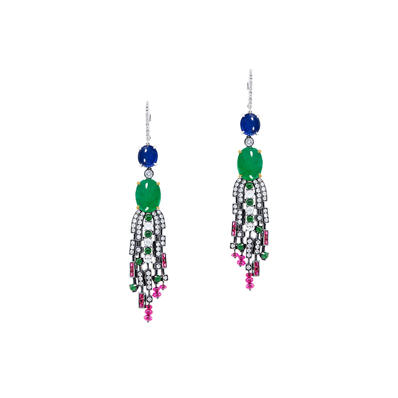 GSA 天然A貨翡翠藍寶鑽石耳環 39.88克拉