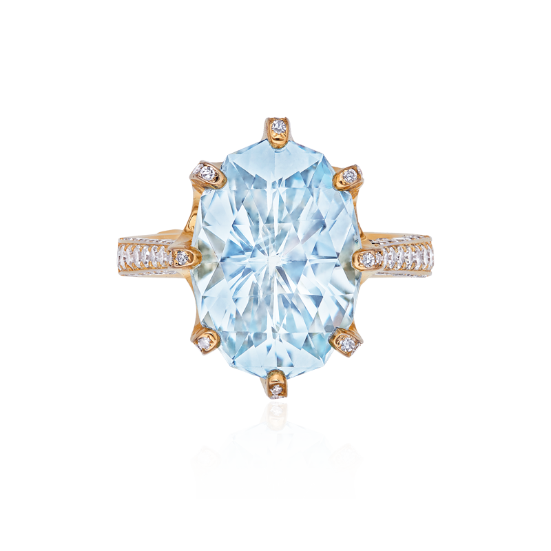 EGL 天然無燒海水藍寶鑽石戒 6.65克拉