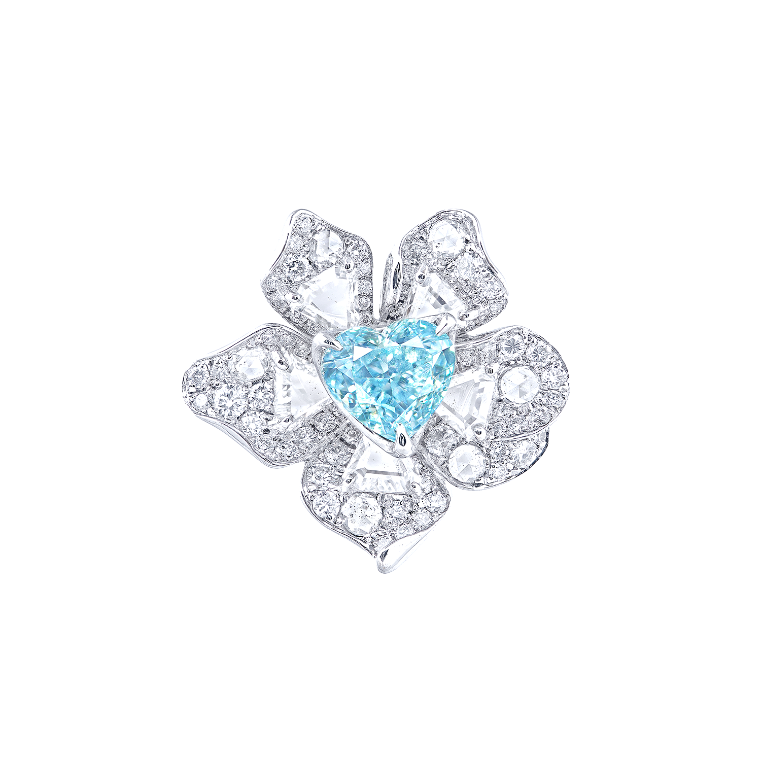 GIA 2.01克拉 淡彩綠藍彩鑽鑽石戒