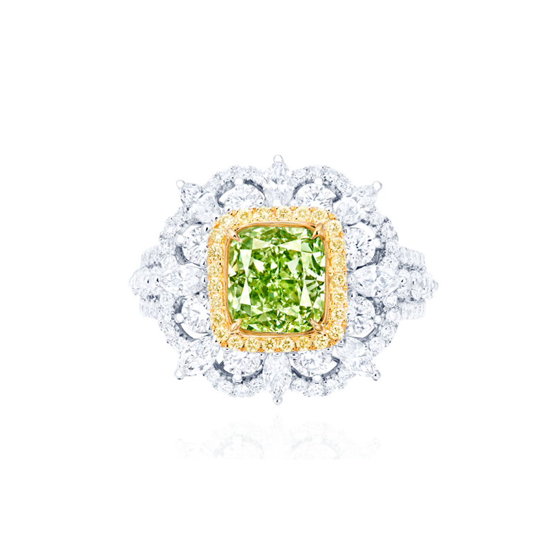 GIA 綠彩鑽鑽石戒 2.00克拉