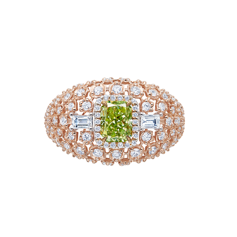 GIA 濃彩綠彩鑽鑽石戒 1.01克拉