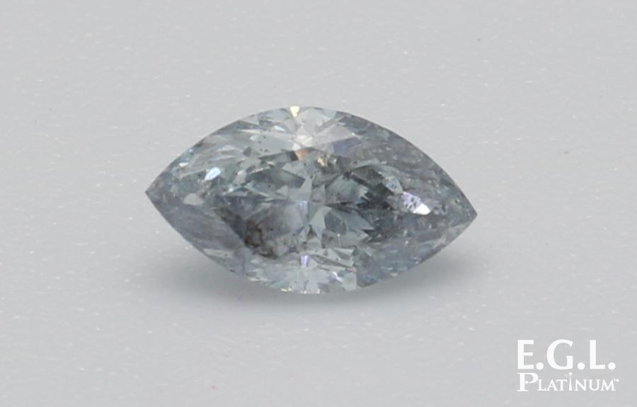 客戶委託鑑定藍色鑽石,顏色評定為Fancy grayish blue