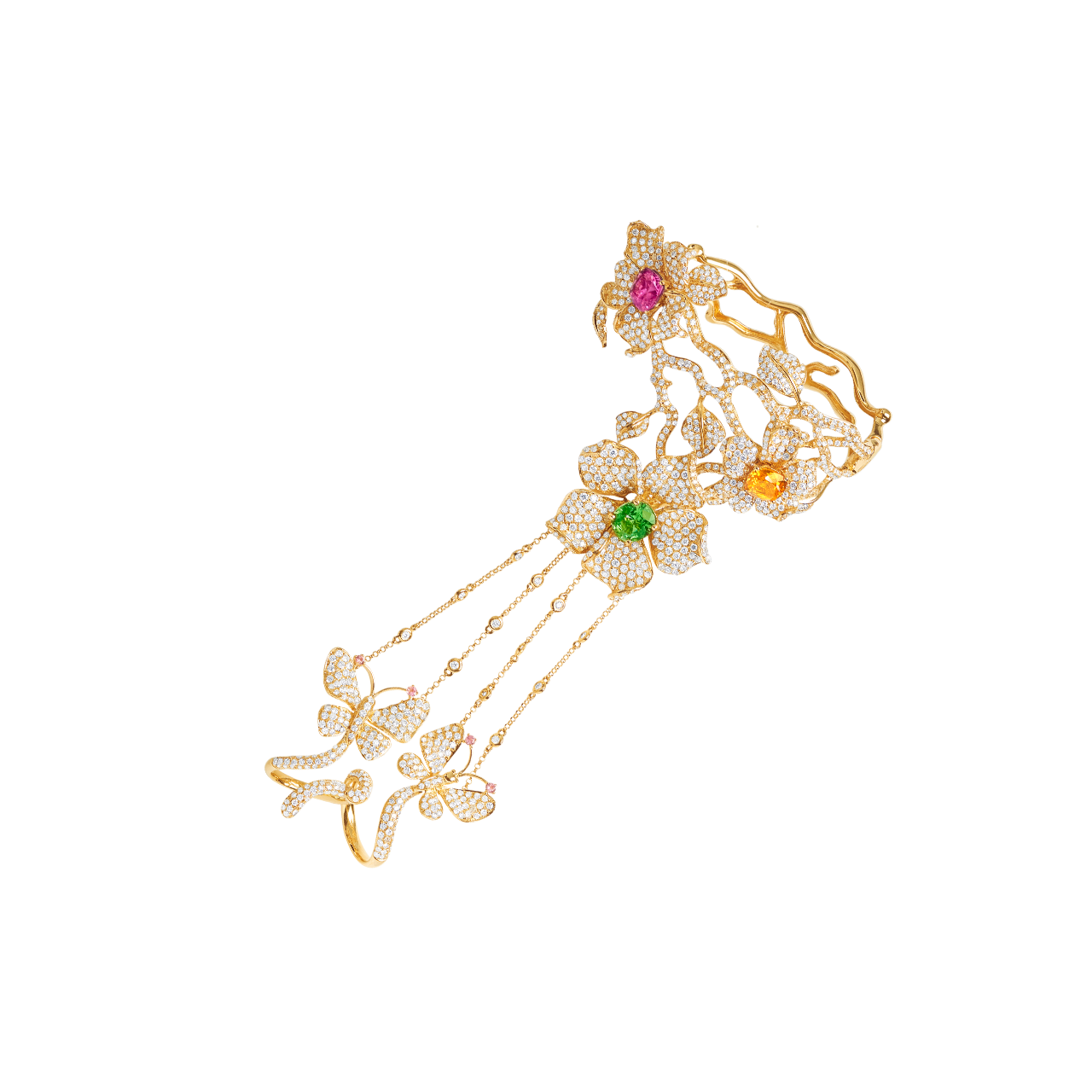桐花彩寶鑽石戒鍊手環 69.94公克