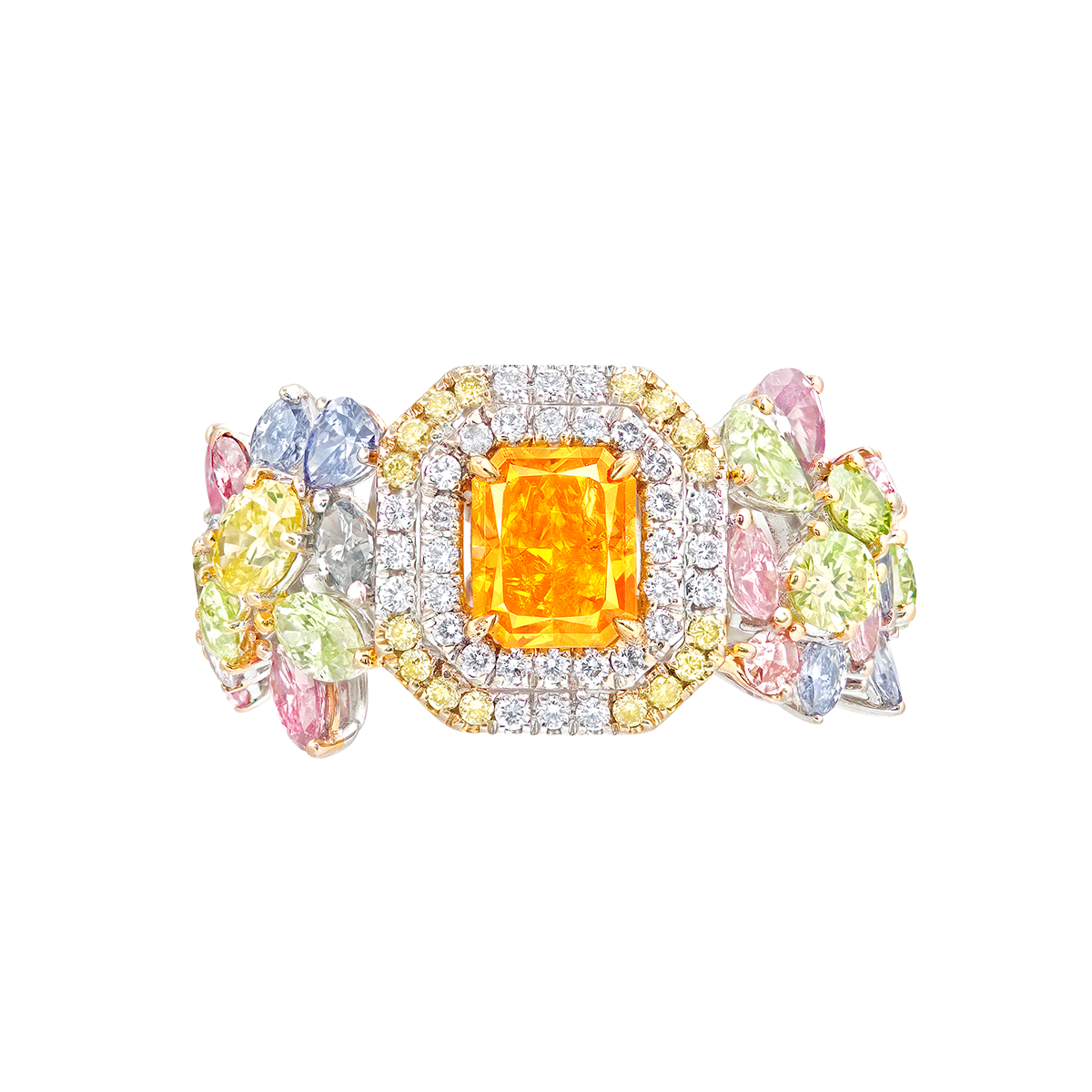 GIA 1.12克拉 艷彩橘彩鑽鑽石戒