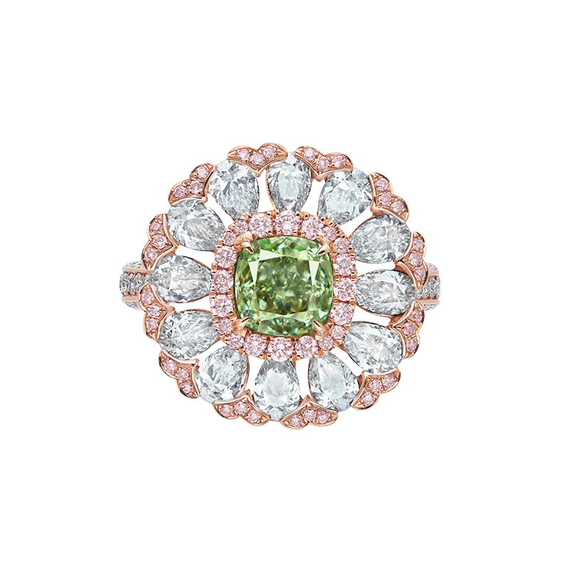 GIA 濃彩綠彩鑽鑽石戒 1.33克拉