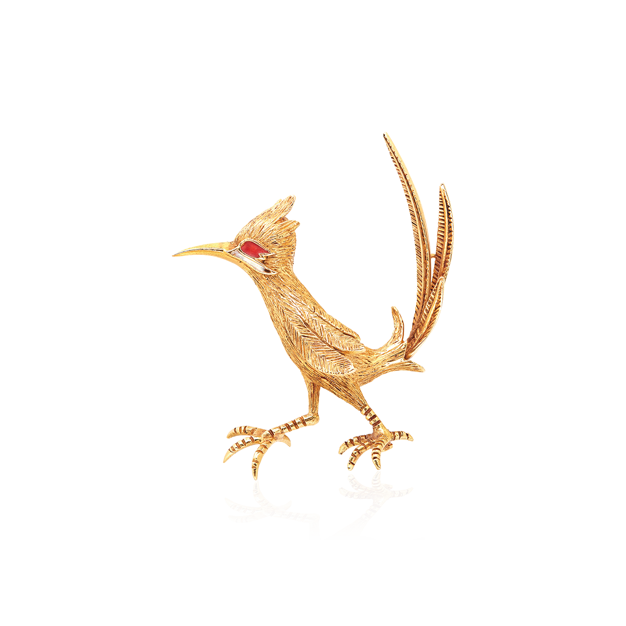 法國古董黃金紅寶嗶嗶鳥造型胸針, CIRCA 1960