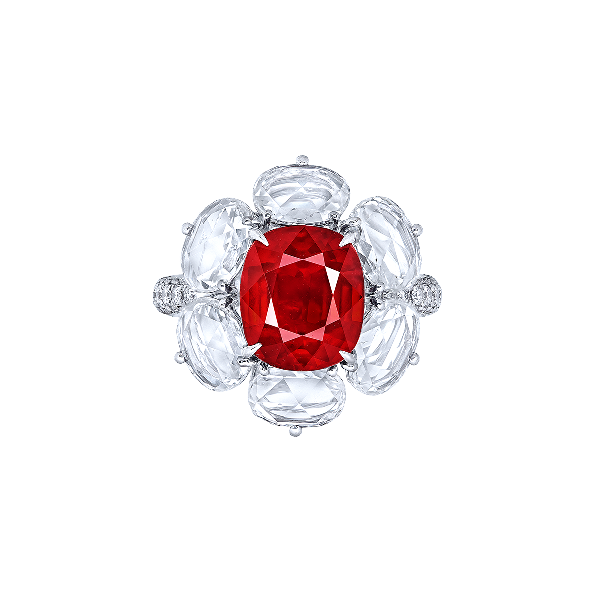 5.01 克拉莫三比克天然無燒鴿血紅紅寶鑽石戒