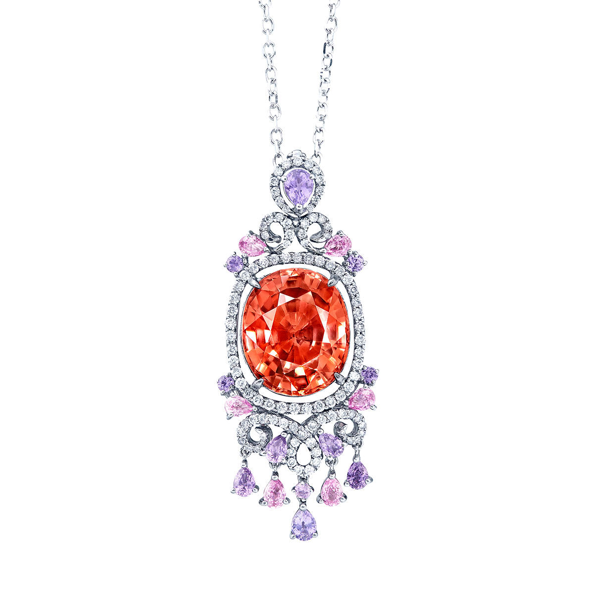 11.84克拉 彩色碧璽鑽石墜鍊