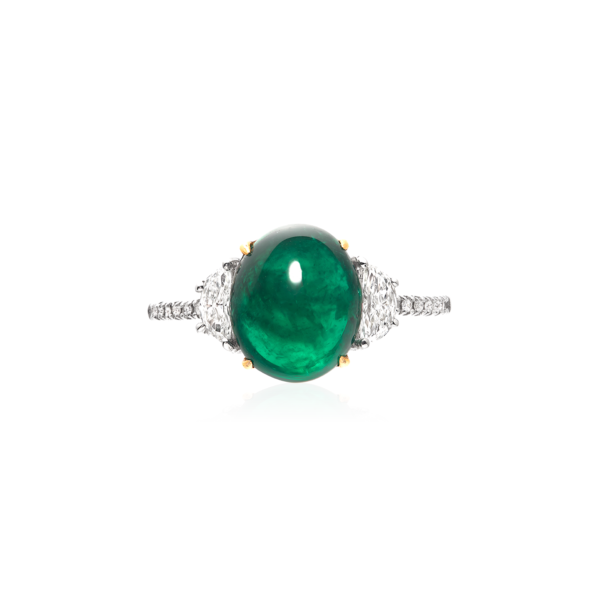 4.80克拉 蛋面祖母綠鑽戒