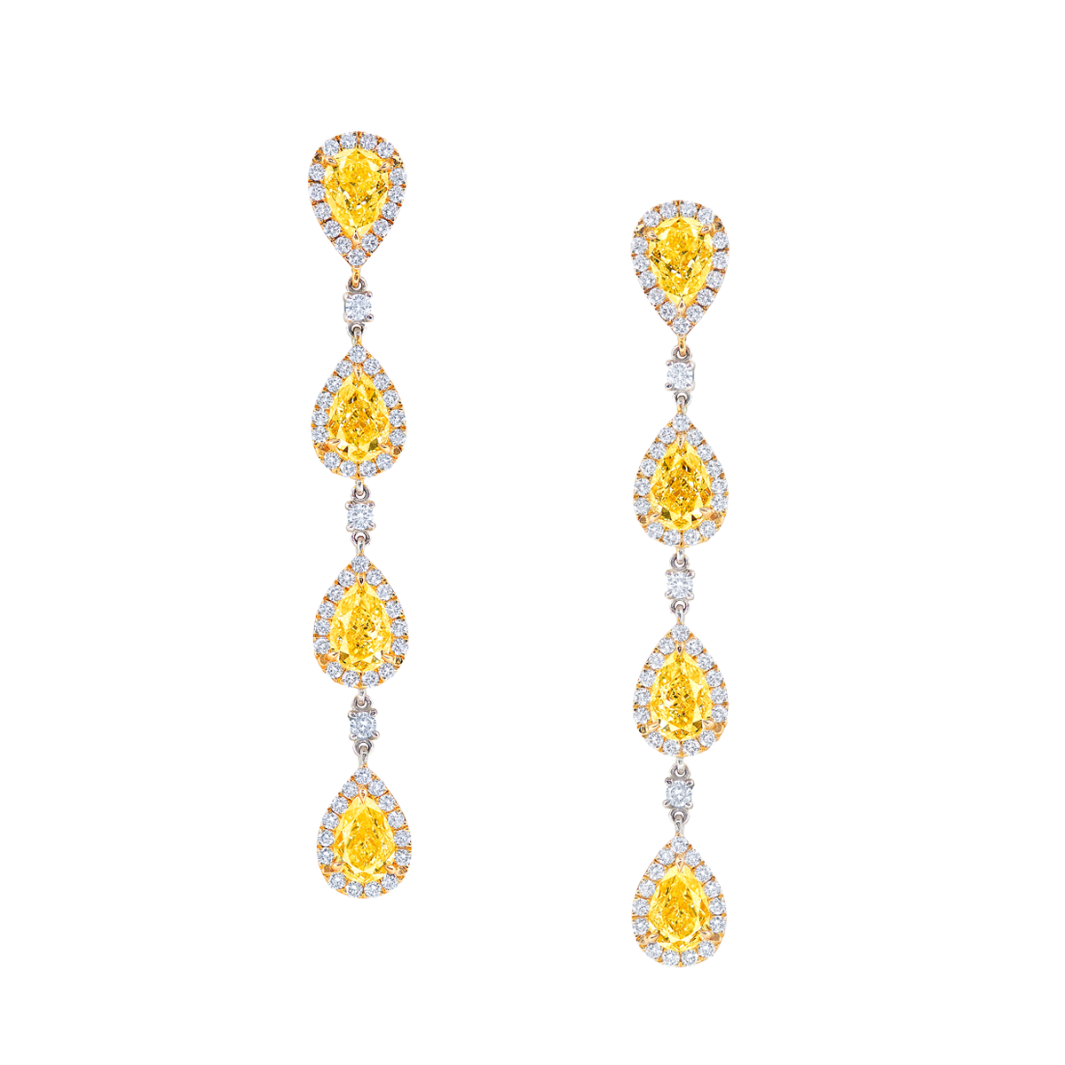 GIA 3.76克拉 黃鑽耳環