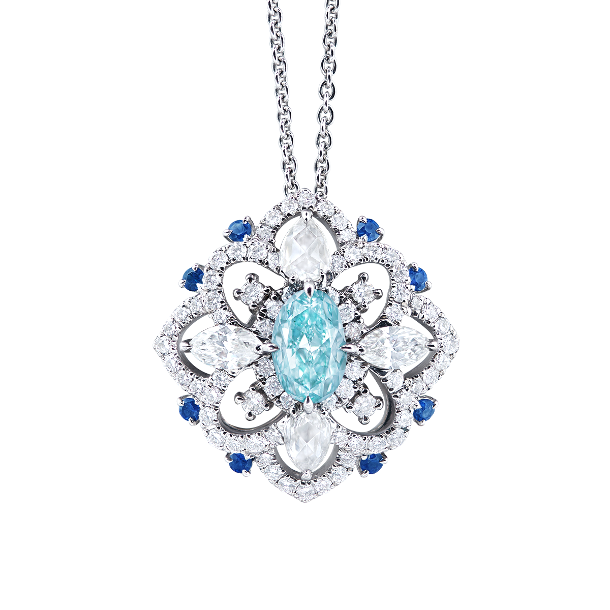 GIA 1.01克拉 濃彩綠藍彩鑽鑽石墜鍊