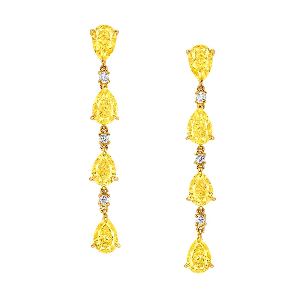 GIA 8顆共約3.76克拉 濃彩黃彩鑽鑽石耳環