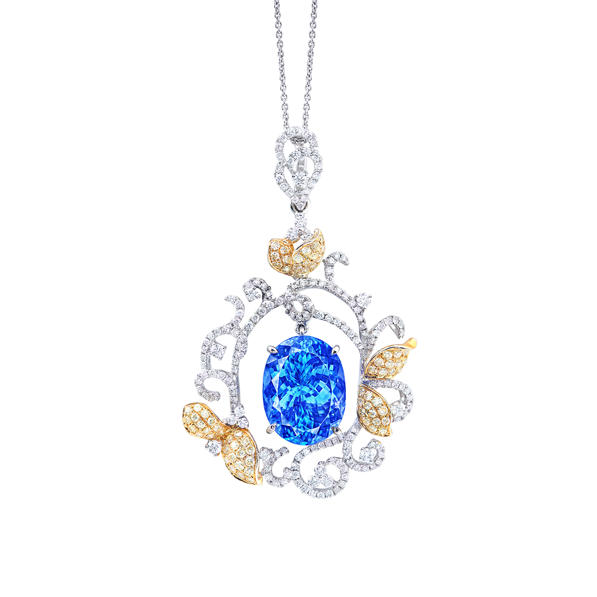 20.05克拉 天然丹泉石鑽石墜鍊