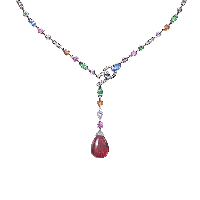 紅寶碧璽彩剛鑽石套鍊 44.79克拉